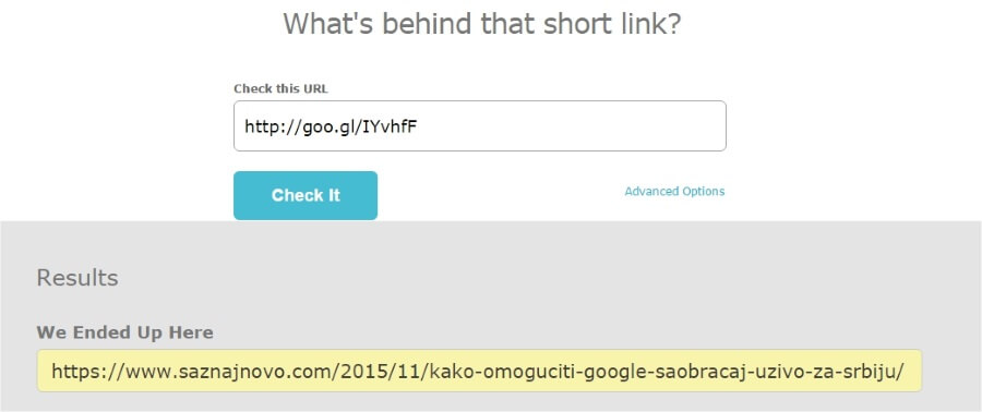 short url checker