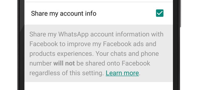 whatsapp stop sharing info facebook
