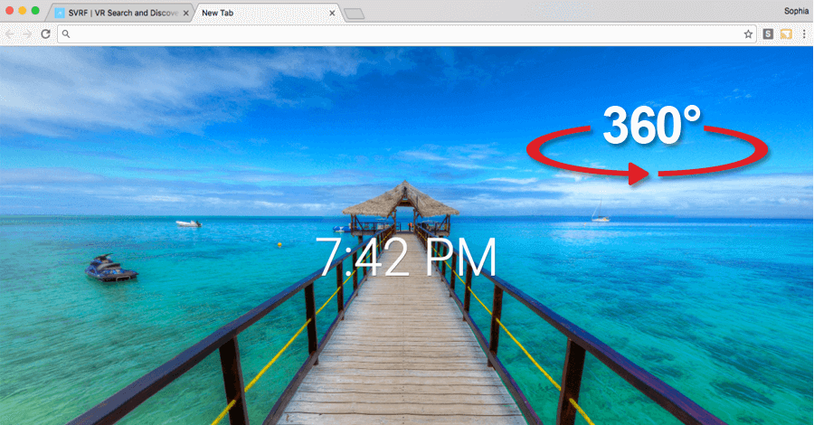 360° slike new tab chrome