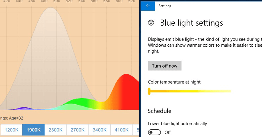 windows 10 blue light reduce