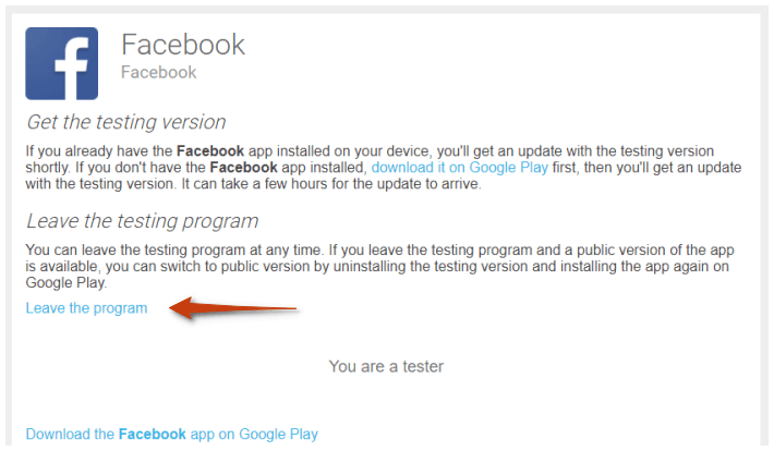 facebook beta leave