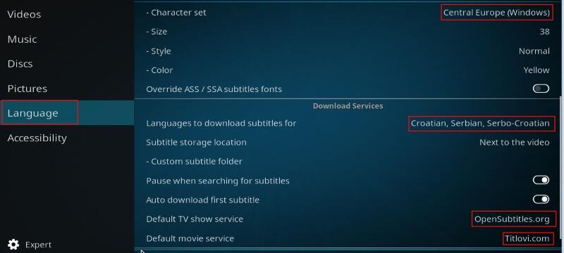 setup kodi language subs
