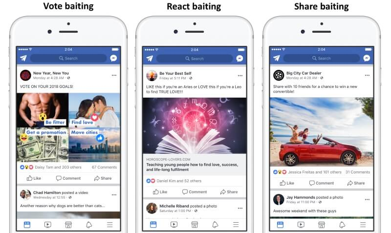 vote react share baiting