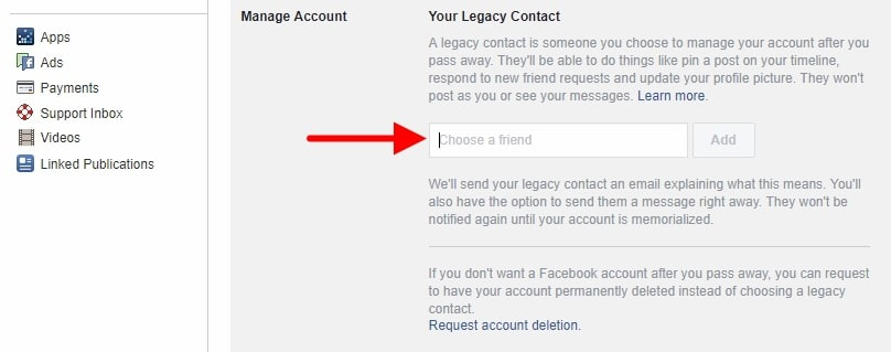 legacy accound facebook