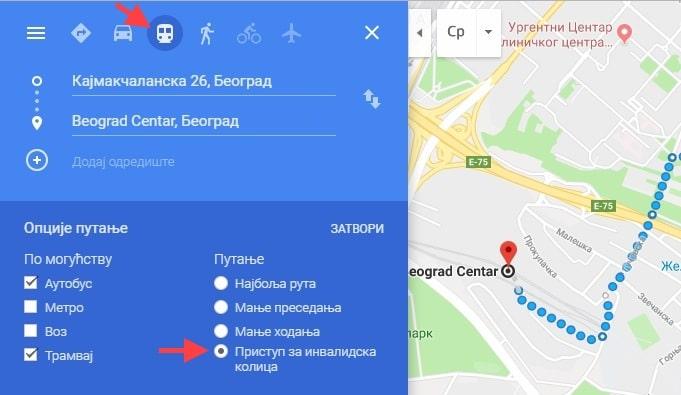 maps invalidska kolica opcije