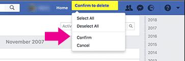 obrisati objave timeline facebook