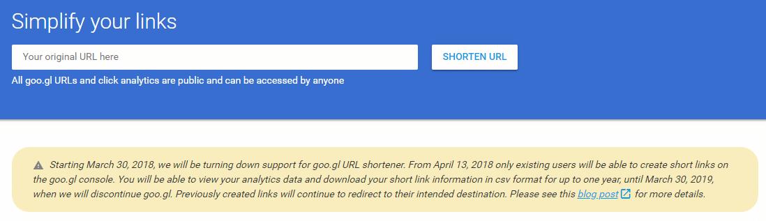 goo.gl service shutdown