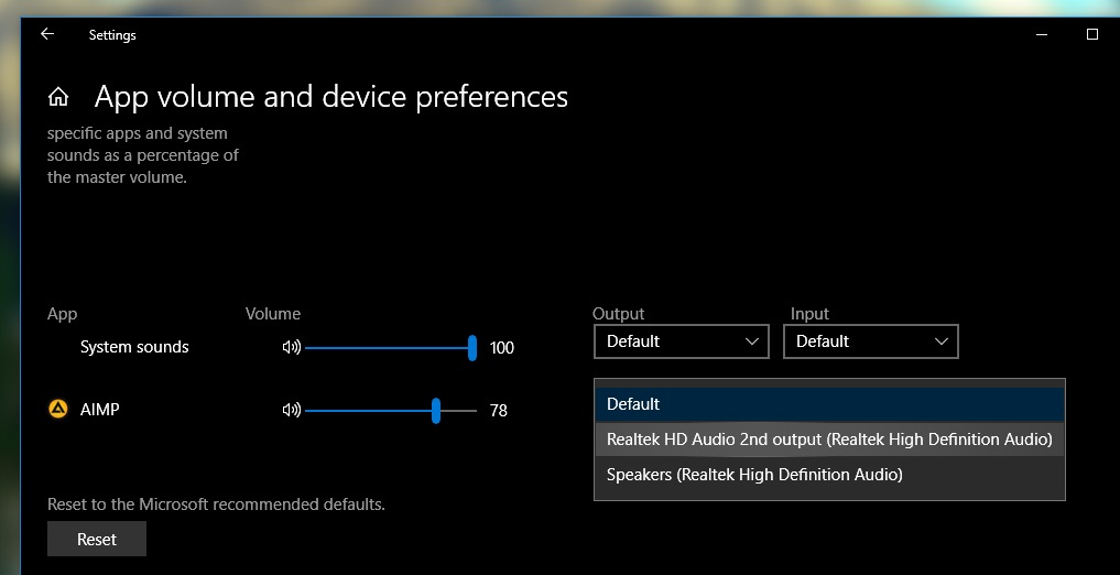biranje audio izlaza windows10