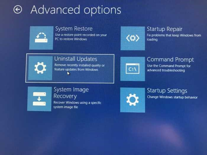 deinstall windows 10 update