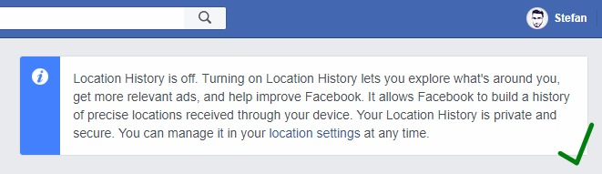 facebook location turned off