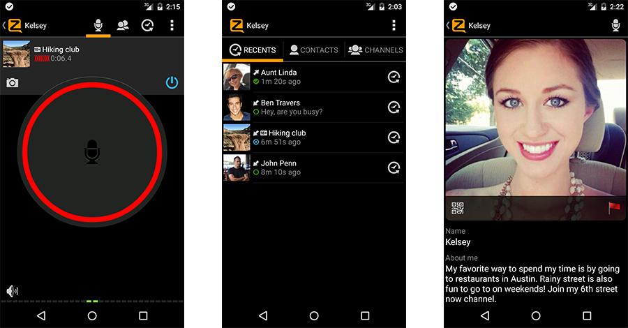 zello app screens