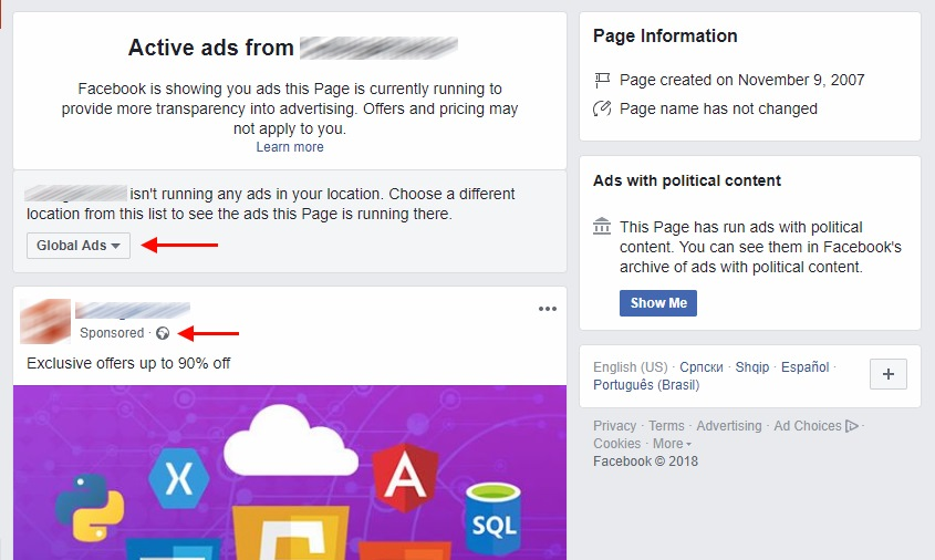 ads and info facebook