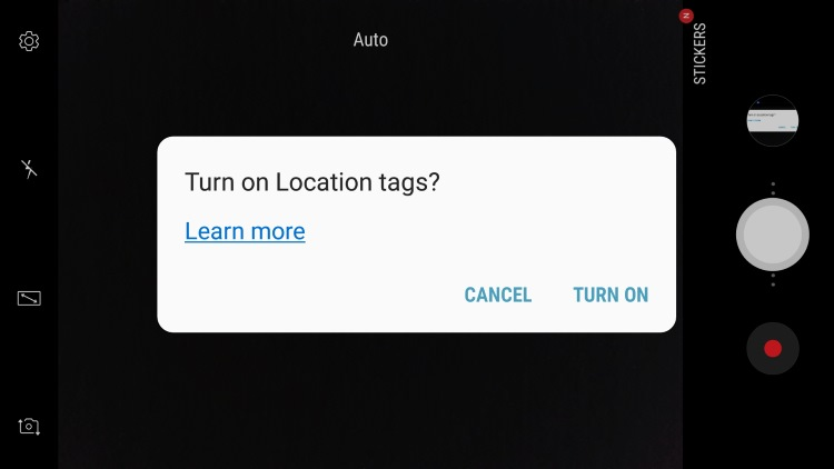 samsung camera turn on location