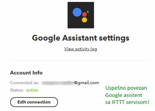 ifttt google assistant connected