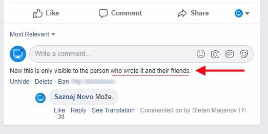 sakriven komentar facebook