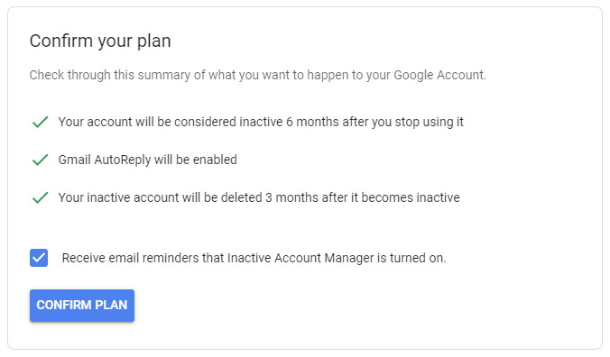 google inactivity manager