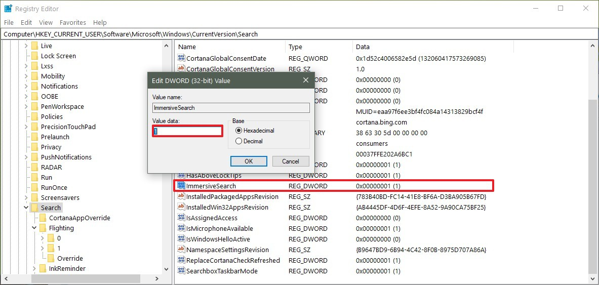 immersivesearch-windows-10-regedit