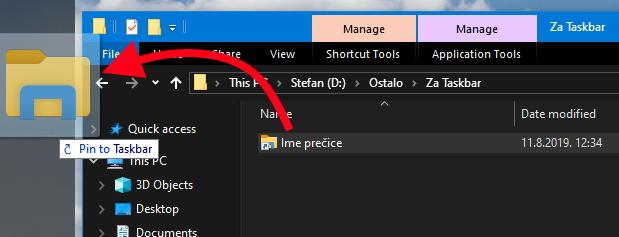 zakaciti folder na taskbar