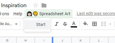 spreadsheet pixel art start