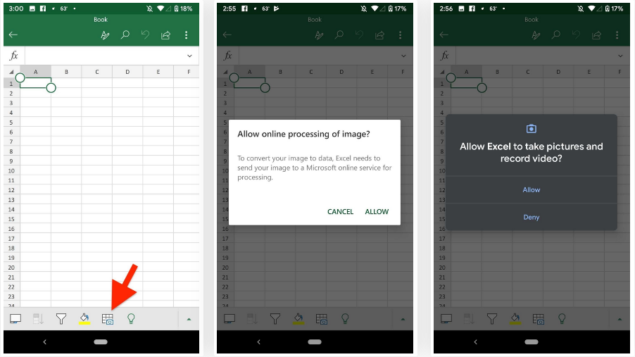 excel android image to table