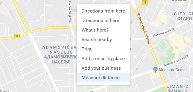 google mape povrsina