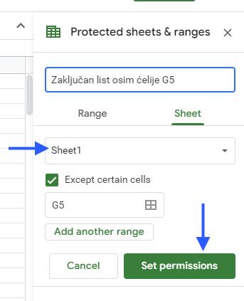 google sheets protect range