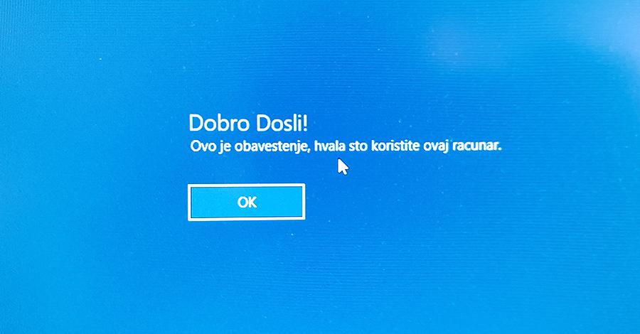 windows licna poruka pri pokretanju sistema