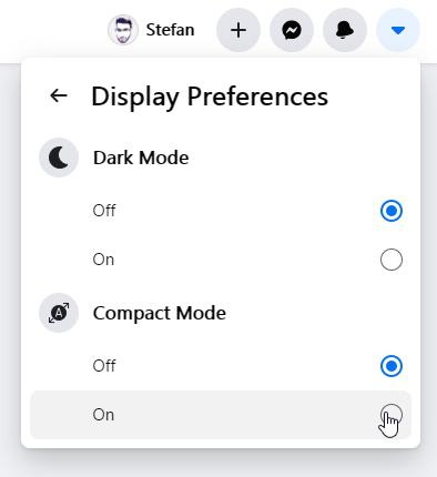 facebook compact mode