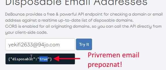 detektovanje privremenog emaila