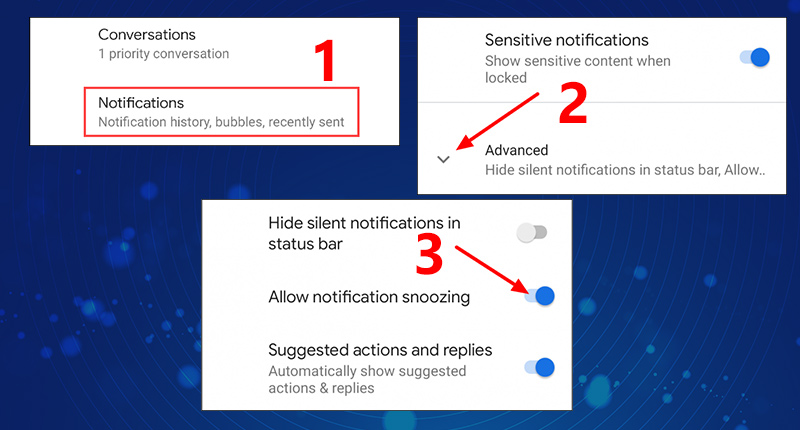 pixel enable snooze notifications