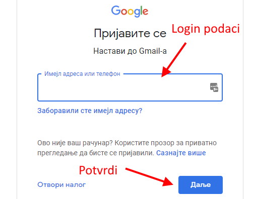 promena imena u gmail
