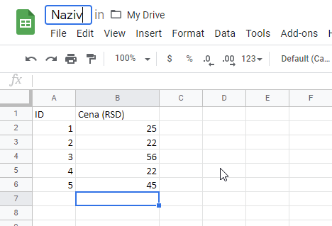 excel u google sheets