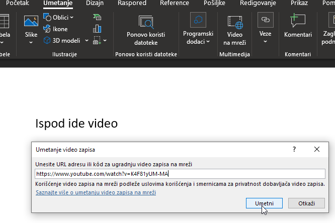 kako ugraditi youtube video u word